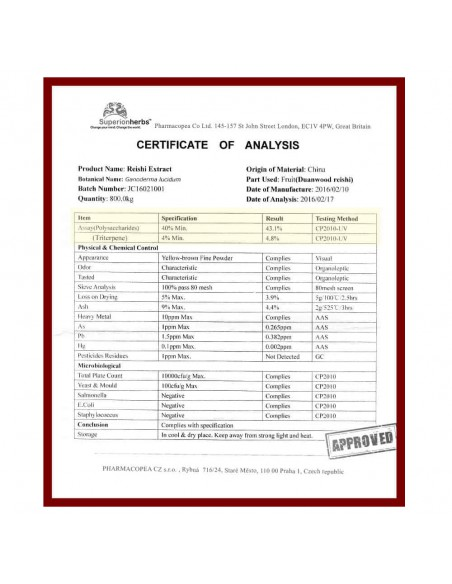 Ganoderma, Duanwood Red Reishi, Extrakt 40 % polysacharidů, certifikát
