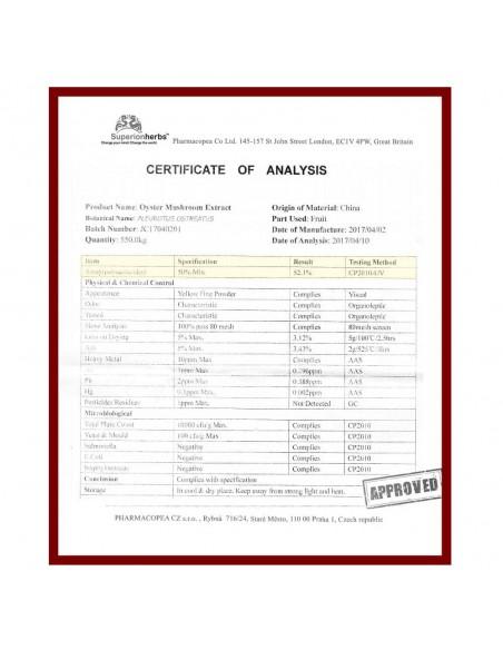 Hlíva ústřičná s extraktem z rakytníku, certifikát