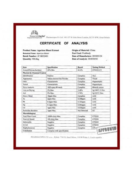 Agaricus blazei Murill je vysoce ceněná medicinální houba, certifikát