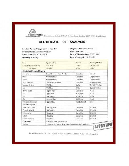 Čaga, 100% sibiřská Chaga, certifikát