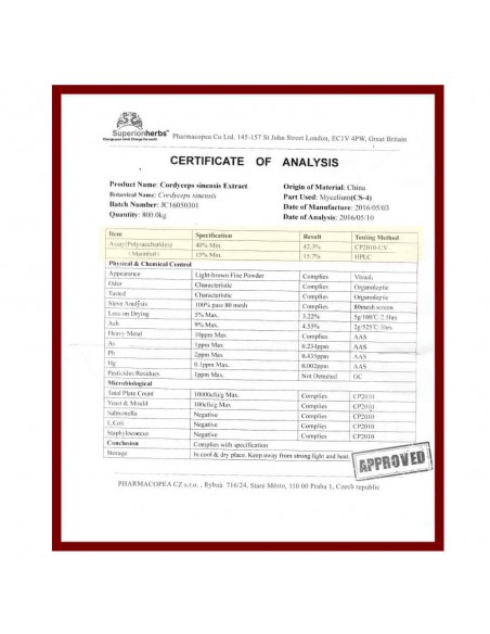 Cordyceps, Extrakt 40 % polysacharidů, 15 % manitolu, cerifikát